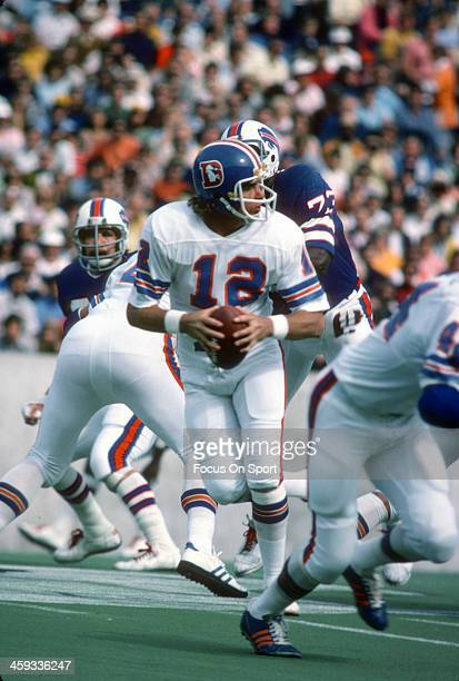 Charlie Johnson of the Denver Broncos drops back to pass against the Buffalo Bills during an NFL football game on October 5 1975 at Rich Stadium in...