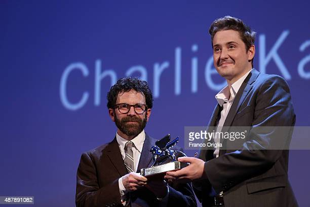 Charlie Kaufman and Duke Johnson on stage with the Grand Jury Prize for the movie 'Anomalisa' at the closing ceremony during the 72nd Venice Film...