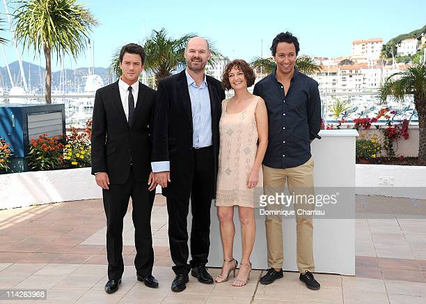 "Charlie Keegan, Deon Lootz, Michelle Scott and Director Oliver Hermanus attend the ""Skoonheid"" Photocall at the Palais des Festivals during the 64th..."
