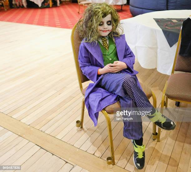 Charlie Kershaw from Scarborough dresses as the Joker as he visits the Scarborough Sci-Fi event held at the seafront Spa Complex on April 21, 2018 in...