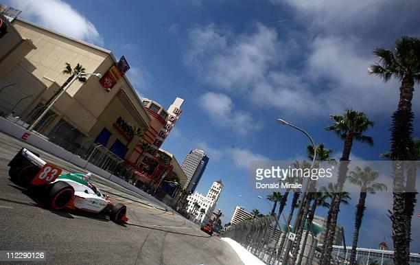 Charlie Kimball driver of the Novo Nordisk Chip Ganassi Racing Dallara Honda drives during the IndyCar Series Toyota Grand Prix of Long Beach on...
