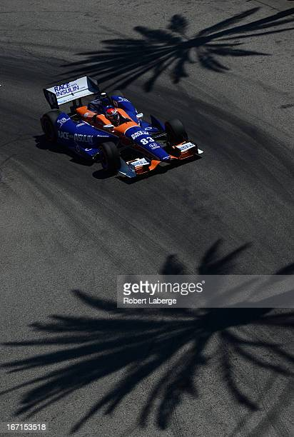 Charlie Kimball driver of the Novo Nordisk Chip Ganassi Racing Dallara Honda during the IndyCar Series Toyota Grand Prix of Long Beach on April 21...