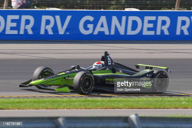 Charlie Kimball driver of the Tresiba Carlin Chevrolet drives during the IndyCar Series ABC Supply 500 on August 18 2019 at Pocono Raceway in Long...