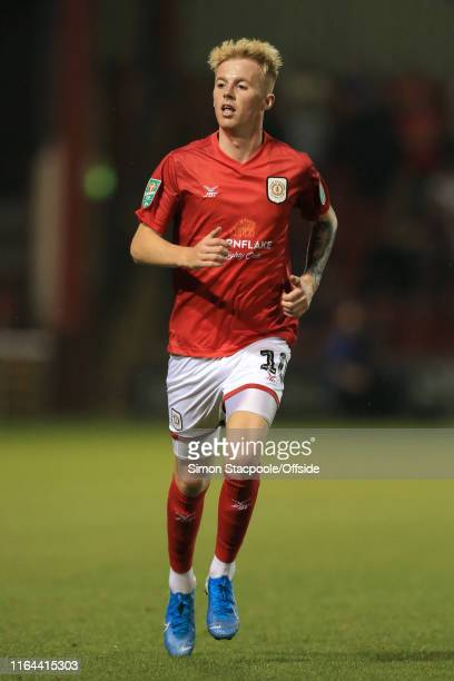 Charlie Kirk of Crewe in action during the Carabao Cup Second Round match between Crewe Alexandra and Aston Villa at the Alexandra Stadium at Gresty...