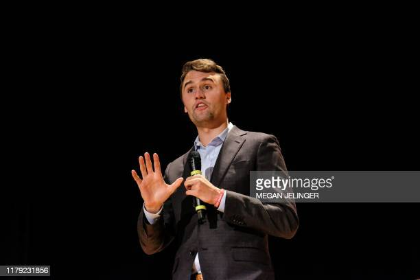 Charlie Kirk speaks at Culture War Turning Point USA event at the Ohio State University in Columbus Ohio on October 29 2019 The organizations mission...