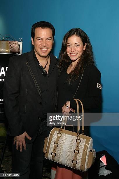 Charlie Lapson and Emmanuelle Vaugier with Charlie Lapson handbag