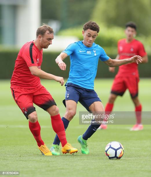 Charlie Lee of Leyton Orient and Luke Amos of Tottenham during the Preseason friendly match between Tottenham Hotspur and Leyton Orient at Tottenham...