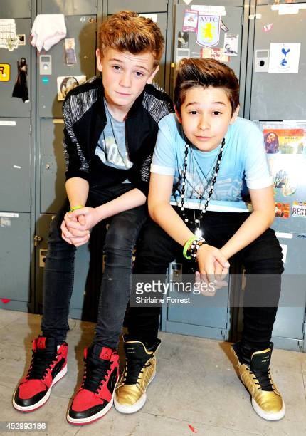 Charlie Lenehan and Leondre Devries of Bars and Melody Britain's Got Talent finalists pose backstage before signing copies of their debut single...