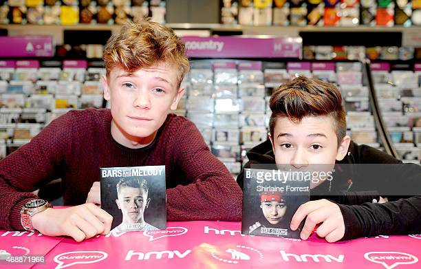 Charlie Lenehan and Leondre Devries of Bars Melody meet fans and sign copies of their new single 'Stay Strong' at HMV on April 7 2015 in Liverpool...