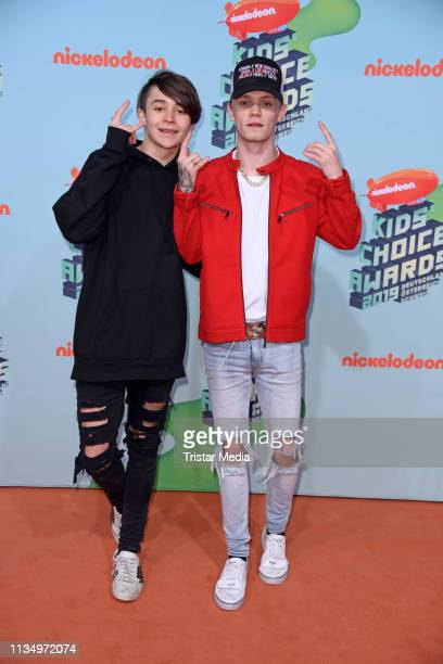 Charlie Lenehan and Leondre Devries of the UK music duo Bars Melody attend the Nickelodeon Kids Choice Awards on April 4 2019 in Rust Germany