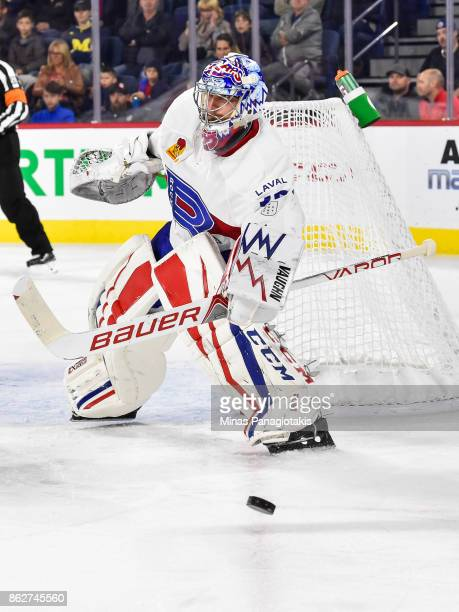 Charlie Lindgren of the Laval Rocket protects his net against the Binghamton Devils during the AHL game at Place Bell on October 13 2017 in Laval...