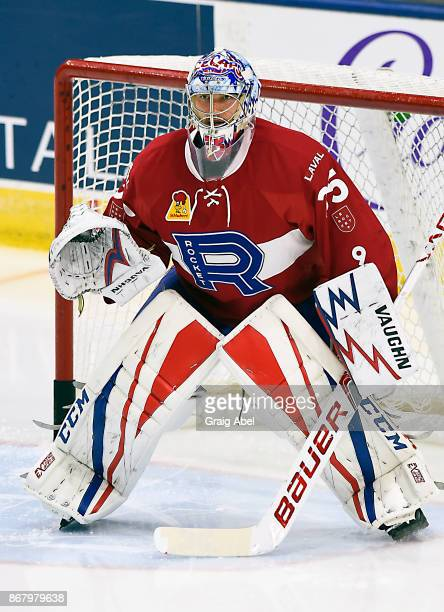 Charlie Lindgren of the Laval Rocket skates in warmup prior to a game against the Toronto Marlies on October 28 2017 at Ricoh Coliseum in Toronto...