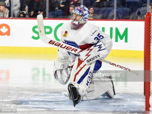 Charlie Lindgren of the Laval Rocket stretches against the Toronto Marlies during the AHL game at Place Bell on November 1 2017 in Laval Quebec...