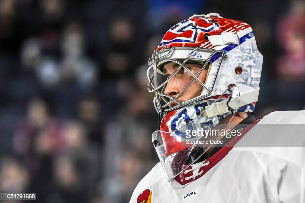 Charlie Lindgren of the Laval Rocket taking a rest before the puck drops again against the Binghampton Devils at Place Bell on October 12 2018 in...
