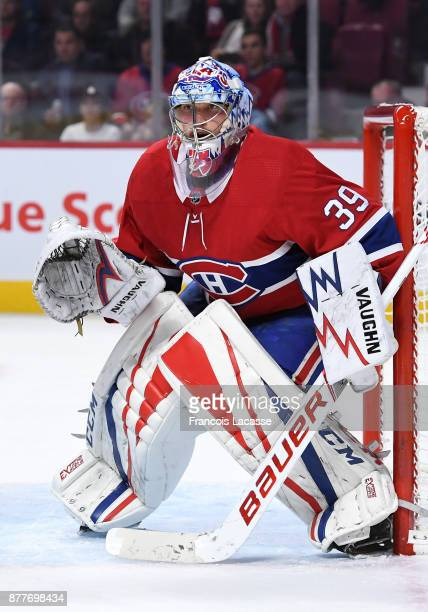 Charlie Lindgren of the Montreal Canadiens defends the goal against the Minnesota Wild in the NHL game at the Bell Centre on November 9 2017 in...