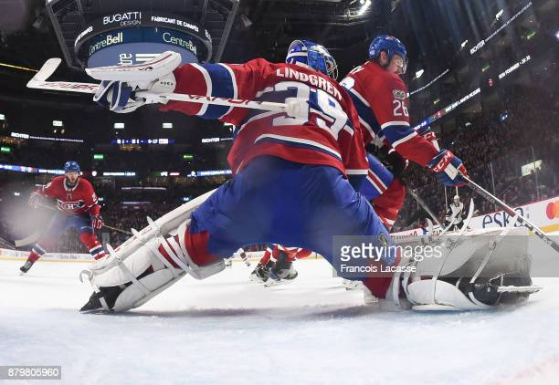 Charlie Lindgren of the Montreal Canadiens defends the goal against the Arizona Coyotes in the NHL game at the Bell Centre on November 16 2017 in...