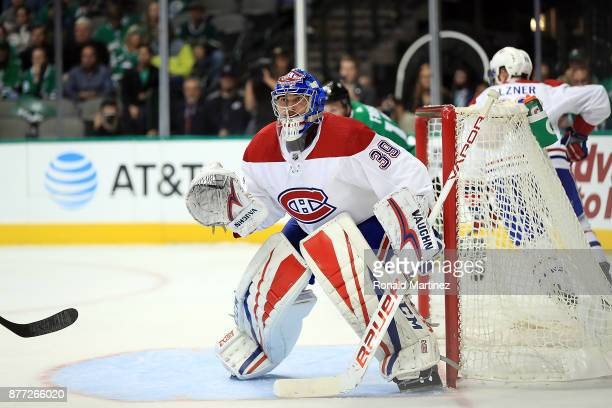 Charlie Lindgren of the Montreal Canadiens in goal against the Dallas Stars in the first period at American Airlines Center on November 21 2017 in...