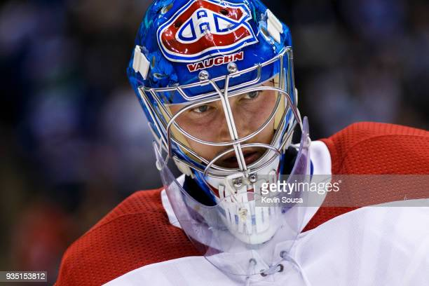 Charlie Lindgren of the Montreal Canadiens looks on against the Toronto Maple Leafs during the second period at the Air Canada Centre on March 17...