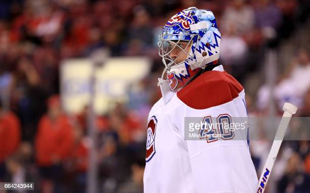 Charlie Lindgren of the Montreal Canadiens looks on during a game against the Florida Panthers at BBT Center on April 3 2017 in Sunrise Florida