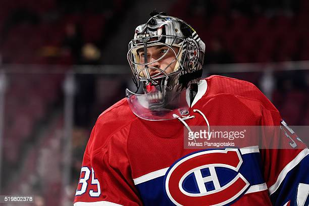 Charlie Lindgren of the Montreal Canadiens looks on during the warmup prior to the NHL game against the Florida Panthers at the Bell Centre on April...