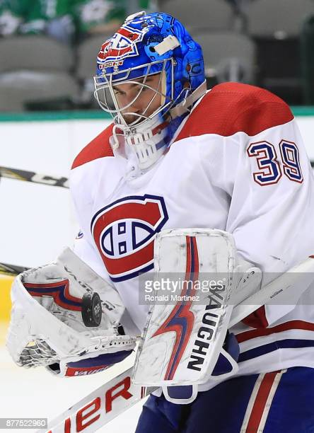 Charlie Lindgren of the Montreal Canadiens makes a save against the Dallas Stars in the third period at American Airlines Center on November 21 2017...