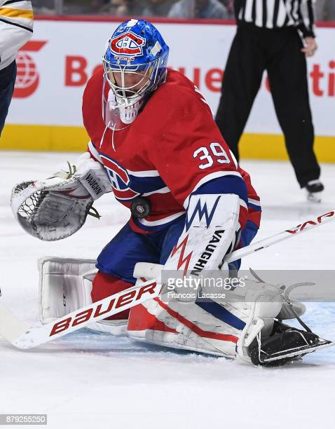 Charlie Lindgren of the Montreal Canadiens makes a save against the Buffalo Sabres in the NHL game at the Bell Centre on November 11 2017 in Montreal...