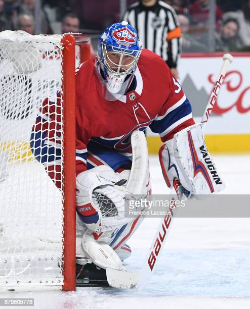 Charlie Lindgren of the Montreal Canadiens protects the goal against the Arizona Coyotes in the NHL game at the Bell Centre on November 16 2017 in...