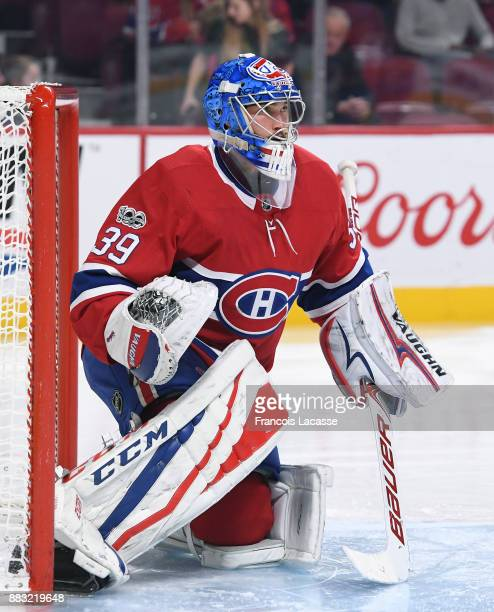 Charlie Lindgren of the Montreal Canadiens protects the net against the Toronto Maple Leafs in the NHL game at the Bell Centre on November 18 2017 in...