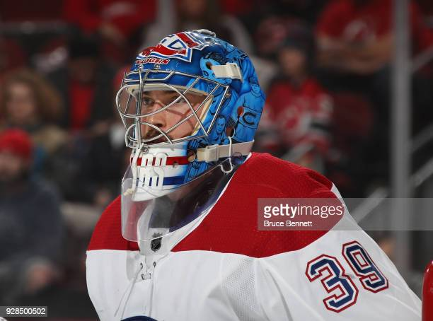 Charlie Lindgren of the Montreal Canadiens skates against the New Jersey Devils at the Prudential Center on March 6 2018 in Newark New Jersey