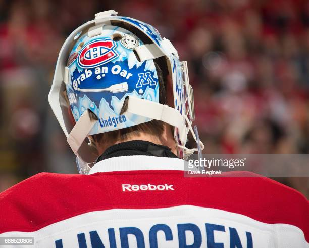 Charlie Lindgren of the Montreal Canadiens skates around on a play stoppage during an NHL game against the Detroit Red Wings at Joe Louis Arena on...