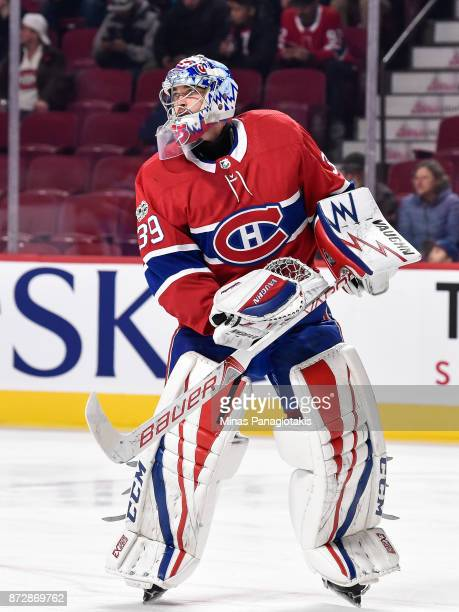 Charlie Lindgren of the Montreal Canadiens skates during the warmup prior to the NHL game against the Vegas Golden Knights at the Bell Centre on...