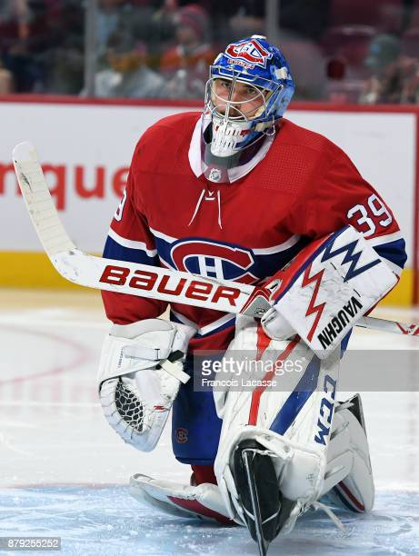 Charlie Lindgren of the Montreal Canadiens stretches before a game against the Buffalo Sabres in the NHL game at the Bell Centre on November 11 2017...