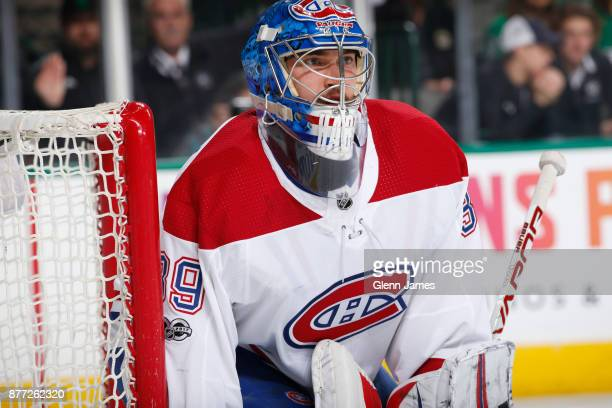 Charlie Lindgren of the Montreal Canadiens tends goal against the Dallas Stars at the American Airlines Center on November 21 2017 in Dallas Texas