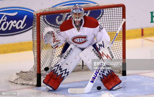 Charlie Lindgren of the Montreal Canadiens warms up during a game against the Florida Panthers at BBT Center on April 3 2017 in Sunrise Florida