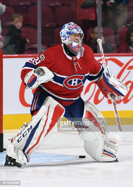 Charlie Lindgren of the Montreal Canadiens warms up prior to the game NHL against the Vegas Golden Knights at the Bell Centre on November 7 2017 in...