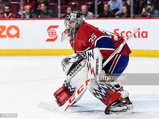 Charlie Lindgren of the Montreal Canadiens warms up prior to the NHL game against the Florida Panthers at the Bell Centre on April 5 2016 in Montreal...