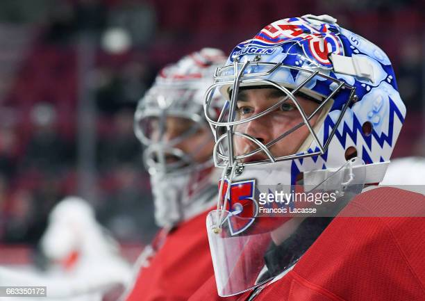 Charlie Lindgren of the Montreal Canadiens warms up prior to the NHL game against the Florida Panthers at the Bell Centre on March 30 2017 in...