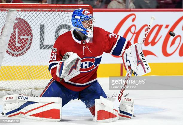 Charlie Lindgren of the Montreal Canadiens warms up prior to the NHL game against the Arizona Coyotes at the Bell Centre on November 16 2017 in...