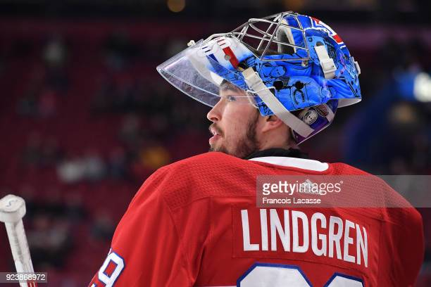 Charlie Lindgren of the Montreal Canadiens warms up prior to the NHL game against the New York Rangers at the Bell Centre on February 22 2018 in...