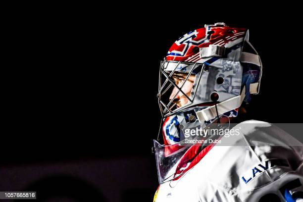 Charlie Lindgren under the spotlight at the pregame ceremony against the Springfield Thunderbirds at Place Bell on October 19 2018 in Laval Quebec