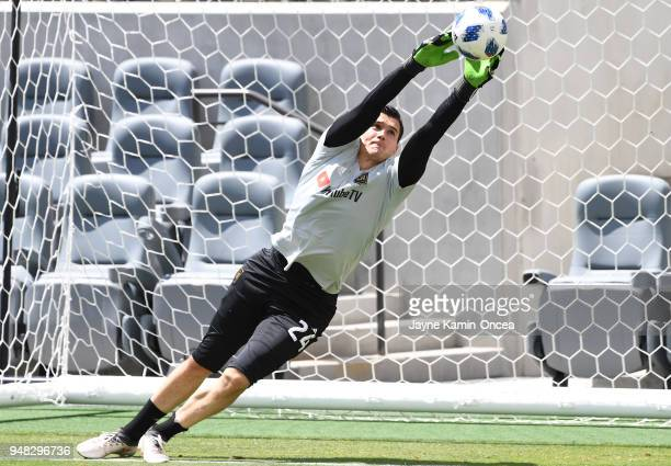 Charlie Lyon of the Los Angeles FC practices for the first time on the field at the Banc of California Stadium on April 18 2018 in Los Angeles...