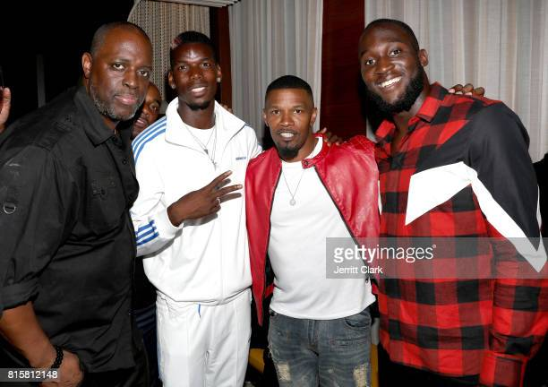 Charlie Mack Manchester United player Paul Pogba actor Jamie Foxx and Manchester United player Romelu Lukaku attend Adidas and The Manchester United...