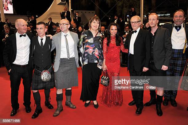 Charlie Maclean William Ruan Ken Loach Jasmin Riggins guest Gary maitland and Paul Brannigan at the premiere for The Angel's share during the 65th...