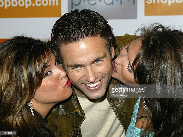 Charlie Maher gets kissed by Bachelor producers Sally Ann Salsano and Lisa Levenson at the season launch party for The Bachelor at Pearl September 22...