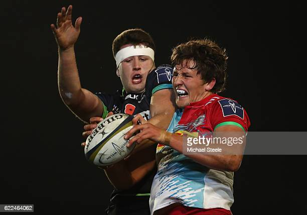 Charlie Matthews of Harlequins contests with Rory Thornton of Ospreys at a lineout during the AngloWelsh Cup match between Ospreys and Harlequins at...