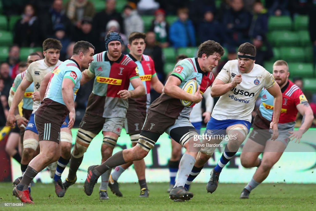 Charlie Matthews of Harlequins in action during the Aviva Premiership match between Harlequins and Bath Rugby at Twickenham Stoop on March 4, 2018 in London, England.