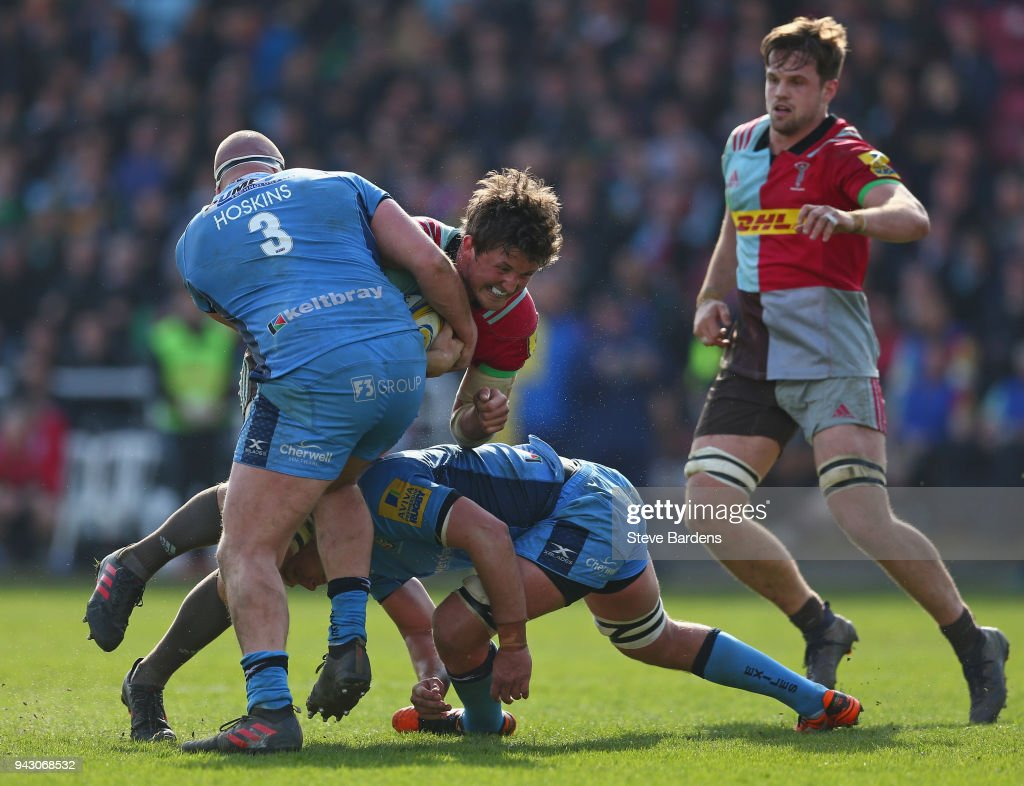 Charlie Matthews of Harlequins is tackled by Ollie Hoskins of London Irish during the Aviva Premiership match between Harlequins and London Irish at Twickenham Stoop on April 7, 2018 in London, England.
