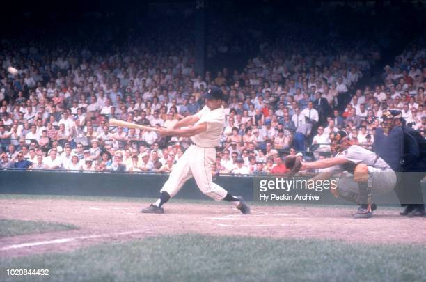 Charlie Maxwell of the Detroit Tigers swings at the pitch during an MLB game against the Baltimore Orioles on June 28 1959 at Briggs Stadium in...