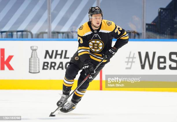 Charlie McAvoy of the Boston Bruins in the third period of a Round Robin game during the 2020 NHL Stanley Cup Playoff at Scotiabank Arena on August...