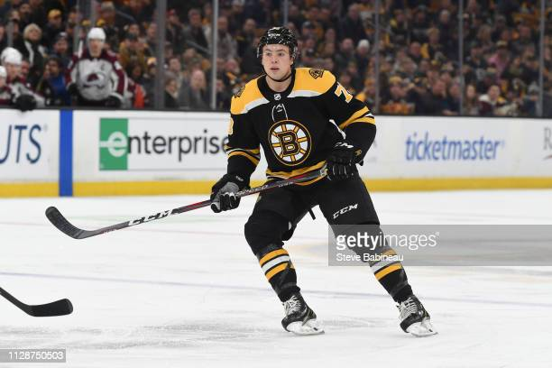 Charlie McAvoy of the Boston Bruins skates against the Colorado Avalanche at the TD Garden on February 10, 2019 in Boston, Massachusetts.